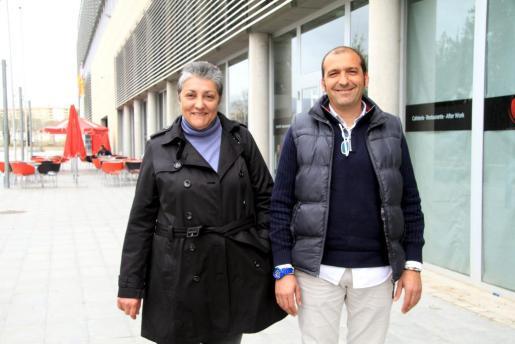 Catalina Tomás y Pere Mas, en el Palma Arena.