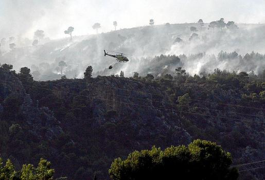 Imagen de uno de los incendios atribuidos al pirómano, en Bendinat.