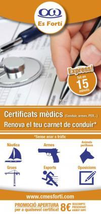 Centro de Reconocimientos Médicos Es Fortí lanza una oferta, 8 € de descuento en cualquier renovación de licencia.