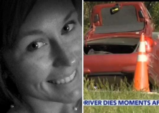 Courtney Sanford, en su último selfie, y a la derecha su coche tras el accidente.