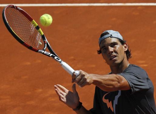 El tenista Rafael Nadal, en la pista de entrenamiento de la Caja Mágica.