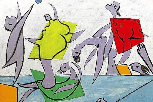 'Le sauvetage', de Picasso, y abajo algunas de las cerámicas picassianas vendidas con gran éxito.