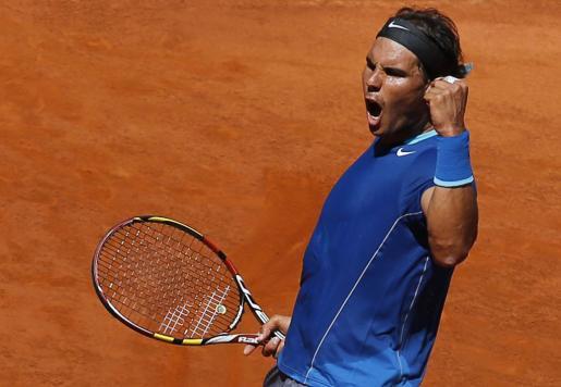 El tenista Rafael Nadal celebra su victoria ante Tomas Berdych.
