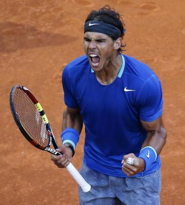 El español Rafael Nadal celebra su victoria.