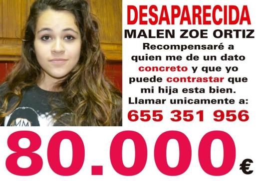 Cartel que anuncia la recompensa de 80.000 euros para la persona que dé una pista clave sobre Malén.