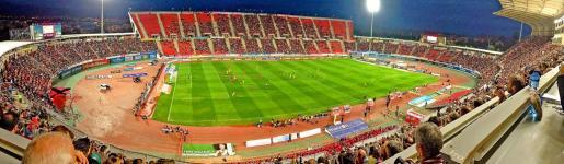 Panorámica del estadio de Son Moix durante un partido del Mallorca. Pese a la importancia del encuentro del sábado entre el conjunto balear y el Jaén, el recinto del Camí dels Reis podría presentar un mal aspecto al coincidir con la final por el título de Liga en Primera División.