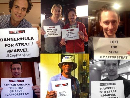 Montaje de algunas de las fotos publicadas en Twitter de miembros de la película 'Los Vengadores'.
