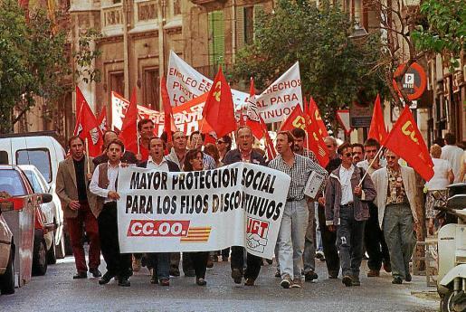 Una protesta del año 1988 exigiendo mayor protección para los fijos discontinuos.