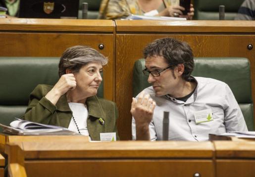 Los parlamentarios de EH Bildu Laura Mintegi y Julen Arzuaga, conversan durante el pleno que este jueves celebra el Parlamento Vasco en el que se debate y vota una proposición de EH Bildu relativa al derecho de autodeterminación de Euskal Herria.