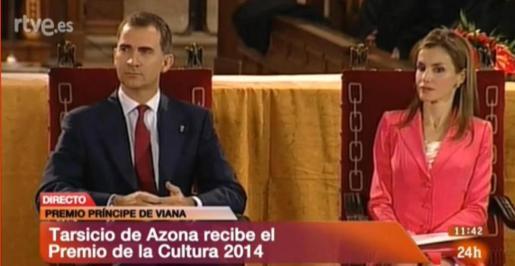 Imagen de TVE de los Príncipes de Asturias, durante el acto de entrega del Premio Príncipe de Viana de la Cultura.