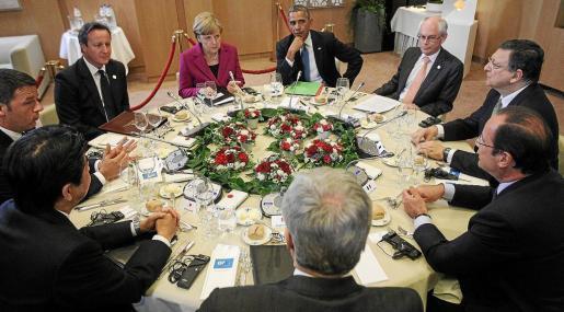 Foto de la reunión de ayer en Bruselas de los líderes de los siete países más ricos del mundo.