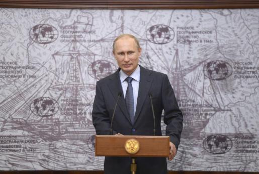 El presidente de Rusia Vladimir Putin durante un acto celebrado en San Petersburgo este jueves 5 de junio.