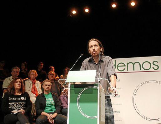 El líder de Podemos, Pablo Iglesias, en un acto de la formación en Madrid.
