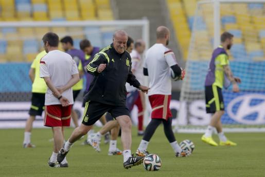 El director técnico de la selección España Vicente del Bosque participa en un entrenamiento del equipo.