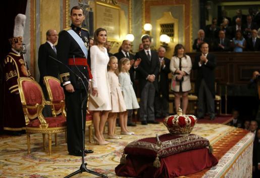 El rey Felipe VI, la Reina, la Princesa de Asturias y la infanta Sofía, durante el acto de proclamación.