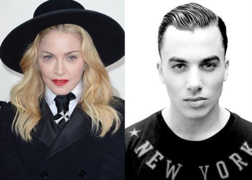 Composición de fotos de Madonna y Timor Steffens.