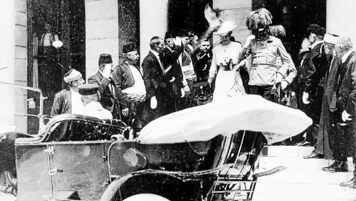 Austro-Hungarian Archduke Franz Ferdinand and his wife Sophie leave Sarajevo City Hall in this June 28, 1914 picture provided by JU Sarajevo Museum. Two concerts in two Bosnian cities, Sarajevo and Visegrad respectively, will mark the 100th anniversary on June 28, 2014 of the Sarajevo assassination of Ferdinand that lit the fuse for World War One, in a divided country where the past still haunts the present. Sarajevo's City Hall was where Ferdinand and his wife attended a reception shortly before their murd