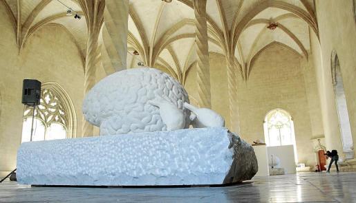 Uno de los cerebros de mármol de Jan Fabre, instalado ayer en sa Llonja.