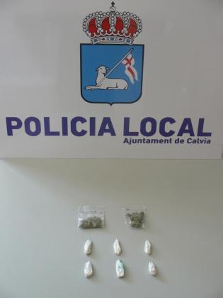 Diversas sustancias estupefacientes incautadas por la Policía Local de Calvià la pasada madrugada.