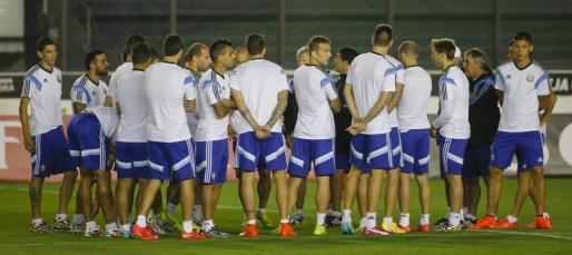 Los jugadores de la selección argentina, durante un entrenamiento.