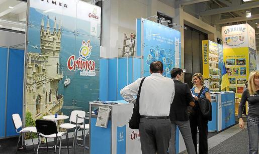 Imagen del estand de Ucrania en la pasada feria ITB de Berlín, con Crimea como principal atractivo.