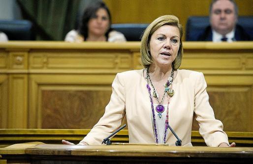 La presidenta de Castilla-La Mancha, María Dolores de Cospedal, durante su intervención.