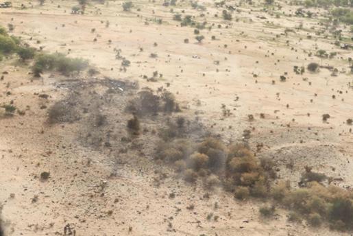 El lugar del accidente del avión de Swiftair estrellado en Mali.