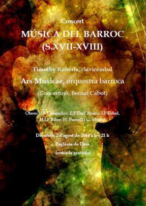 Cartel del concierto de música barroca de Timothy Roberts.