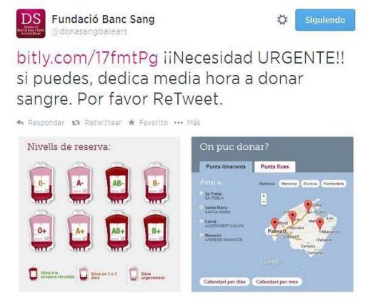 Tweet del Banc de Sang que comunica la necesidad urgente de que se realicen donaciones.