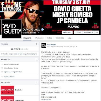 Comunicado de David Guetta en su página de Facebook.