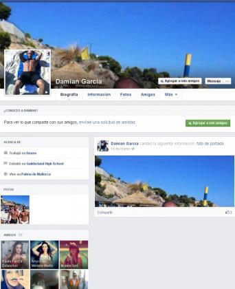 Imagen del perfil falso de Damián creado en Facebook.