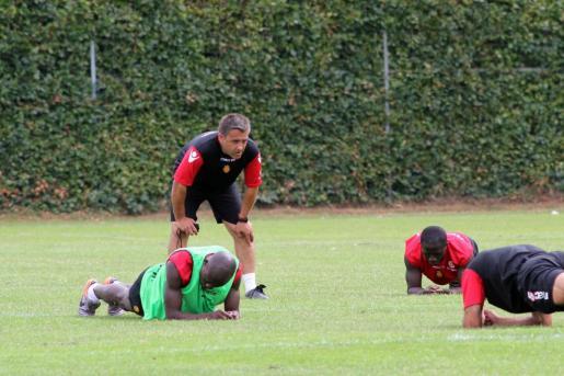 Pep Alomar durante un entrenamiento del Real Mallorca B.