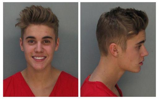 El cantante de pop Justin Bieber cuando fue arrestado en Miami y liberado bajo fianza.