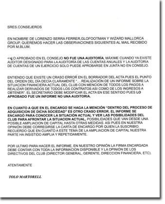 El escrito que ha remitido Tolo Martorell, en nombre de las sociedades de Serra Ferrer en el consejo donde niega que se esté llevando a cabo una auditoría.