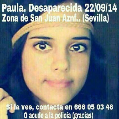 Cartel distribuido por la desaparición de Paula.