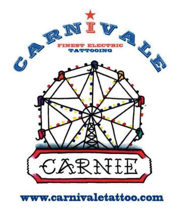 Cartel promocional del quinto aniversario de la Carnivale Finest Electri Tattooing.