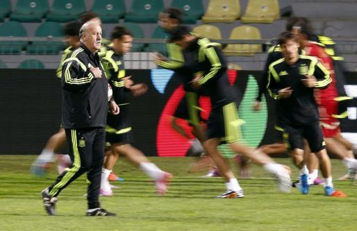 El entrenador de la selección española de fútbol, Vicente del Bosque, durante un reciente entrenamiento de la selección.