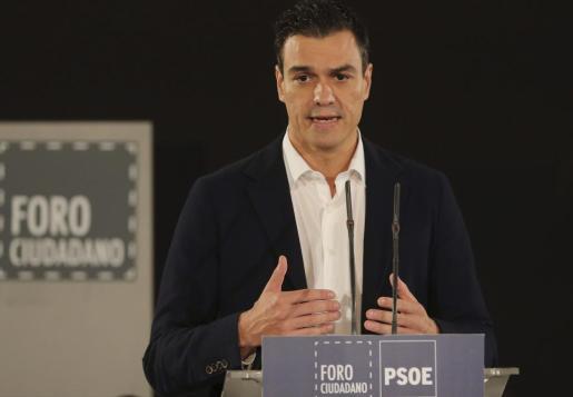 El secretario general del PSOE, Pedro Sánchez, durante su intervención en el Foro Ciudadano de Limpieza y Calidad Democrática.