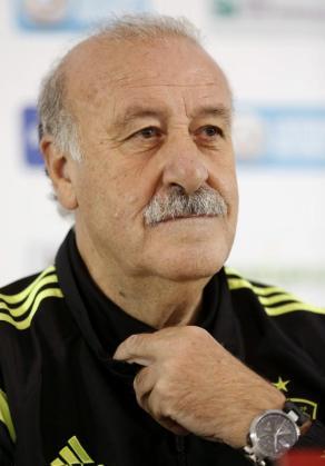 El entrenador de la selección española, Vicente del Bosque, durante la rueda de prensa que ofreció antes del entrenamiento de este sábado.