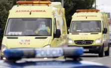 Two ambulances arrive at Madrid's Carlos III Hospital