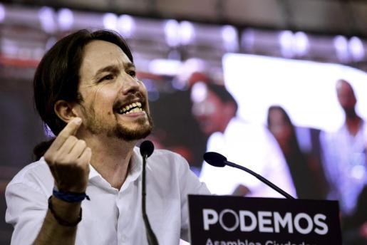 """El líder de Podemos, Pablo Iglesias, interviene en la Asamblea Ciudadana """"Sí Se Puede""""."""