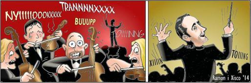 Los dibujantes de este diario Ramon y Xisco Provenzal son los autores de la tira 'Barra lliure'.