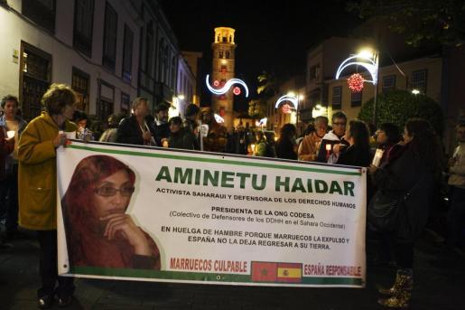 Protesta en favor de Haidar.