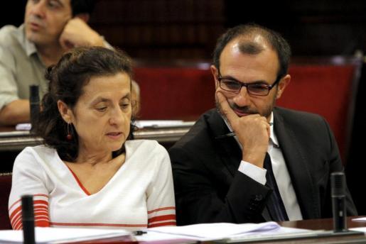 Los portavoces del grupo parlamentario Més, Fina Santiago y Biel Barceló.