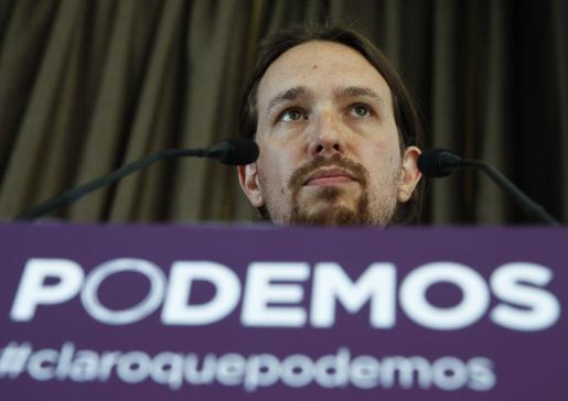 Pablo Iglesias, uno de los fundadores de Podemos, durante una intervención este viernes.