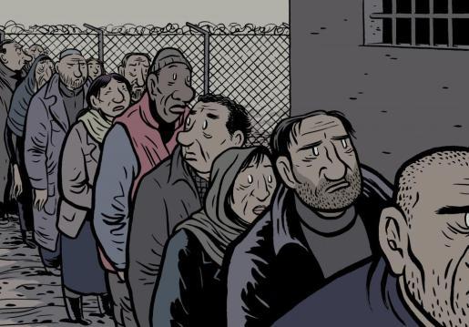 Uno de los dibujos de Max, de 'El regreso de Ulises', sobre un centro de detención de inmigrantes.