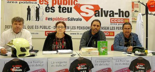 El sindicato CCOO Balears presentó la campaña 'Es público, es tuyo, sálvalo' en defensa de los servicios públicos. A la presentación asistieron Josep Ginard, Eva Cerdeiriña, Antoni Baos y Manel García.