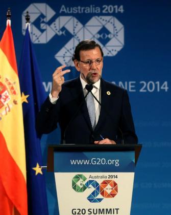 El presidente del Gobierno, Mariano Rajoy, durante la rueda de prensa que ha ofrecido al término de la cumbre de los líderes del G20 celebrada en Brisbane.