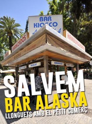 Cartel creado con motivo de la amenaza que se cierne sobre la continuidad del bar Alaska, situado en la Plaça des Mercat.