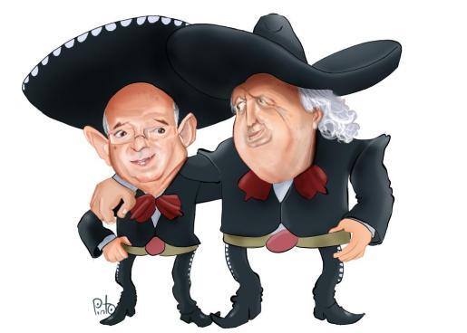 Caricatura de los directivos del Real Mallorca, Llorenç Serra Ferrer y Jaume Cladera vestidos de mariachis.